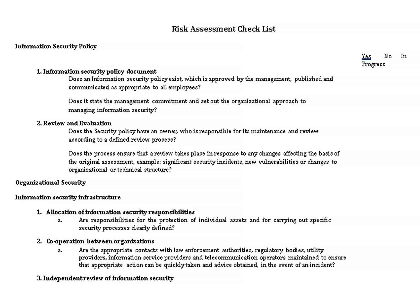 Template Risk Security Assessment Checklist