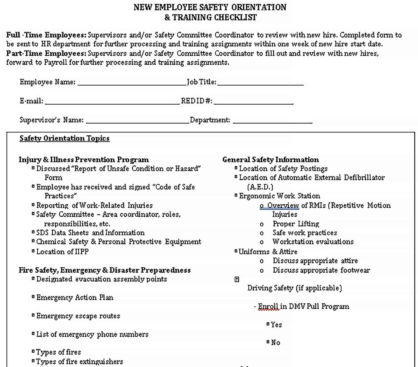 Template Safety Training Checklist Free PDF Format