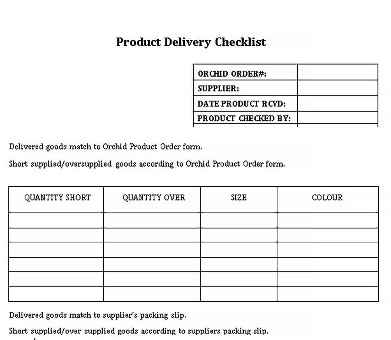Template Sample Delivery Checklist Template