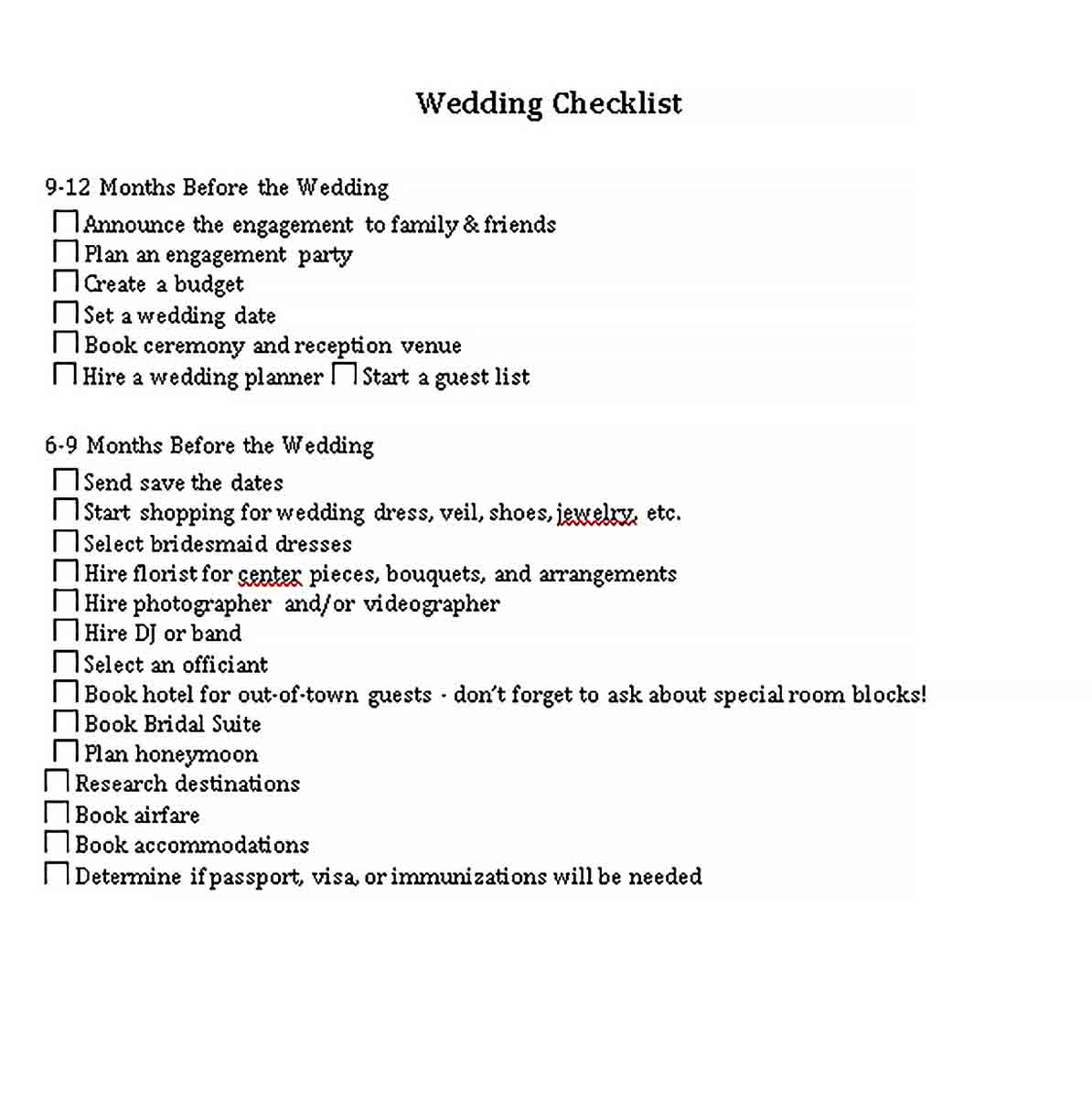 Template Sample Wedding Checklist 1