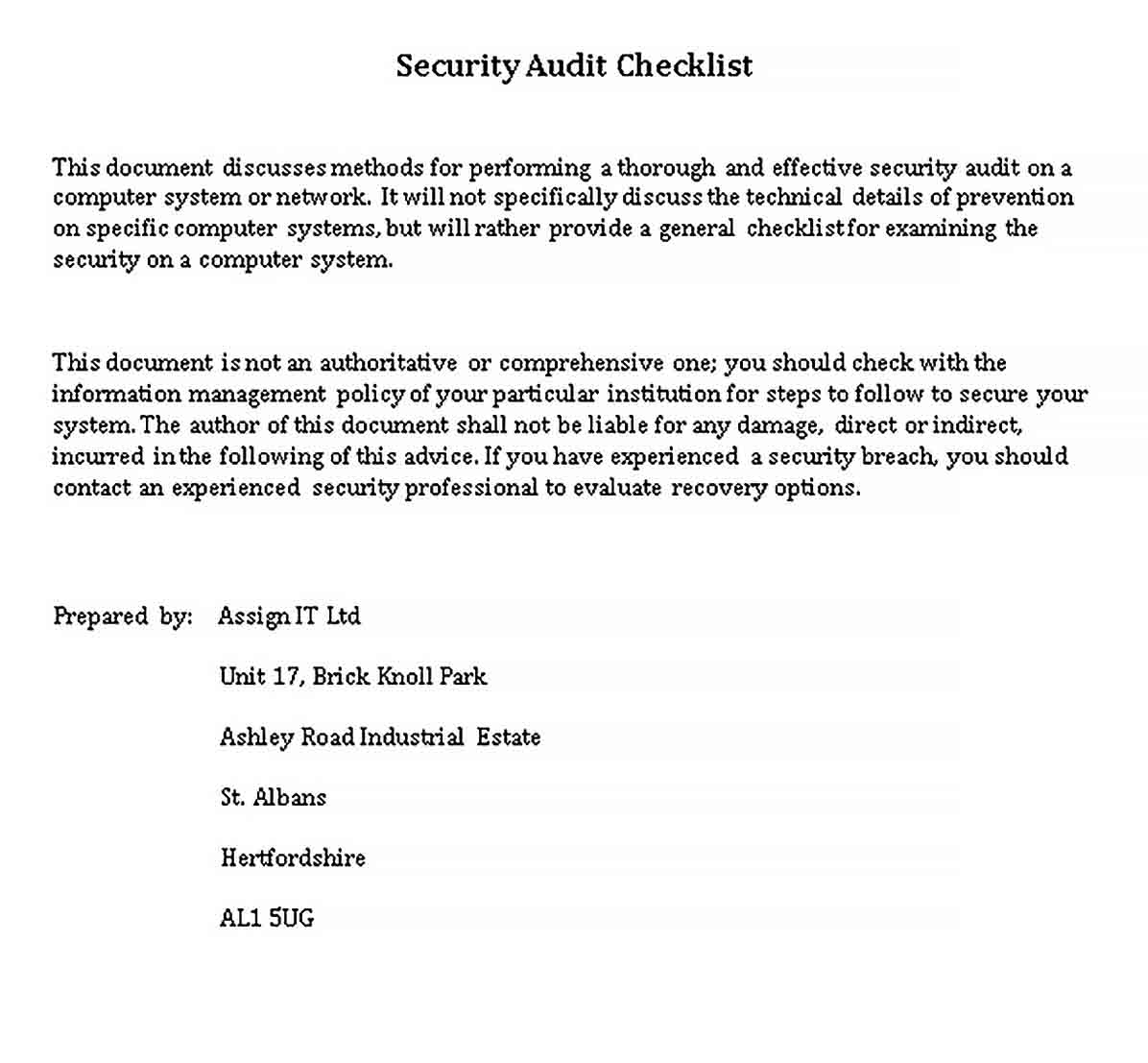 Template Security Audit Checklist Template