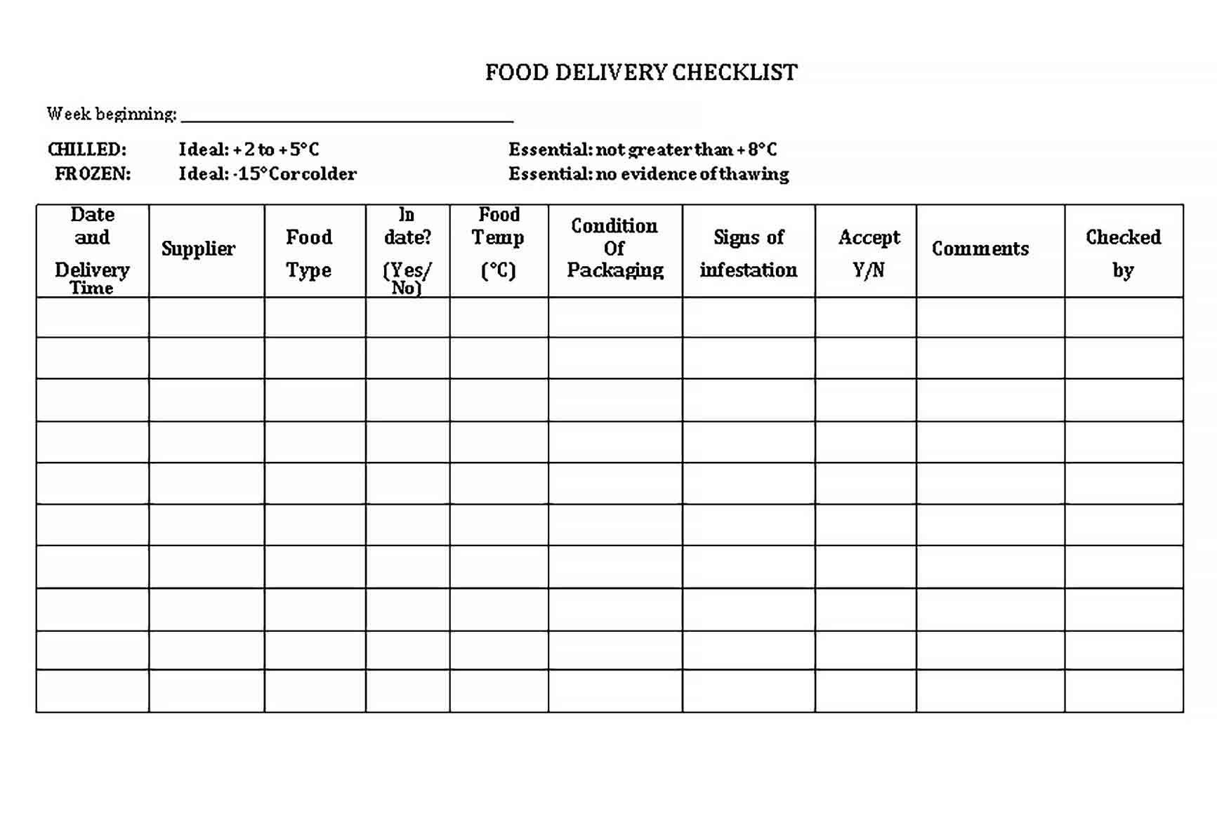 Template Simple Delivery Checklist Template
