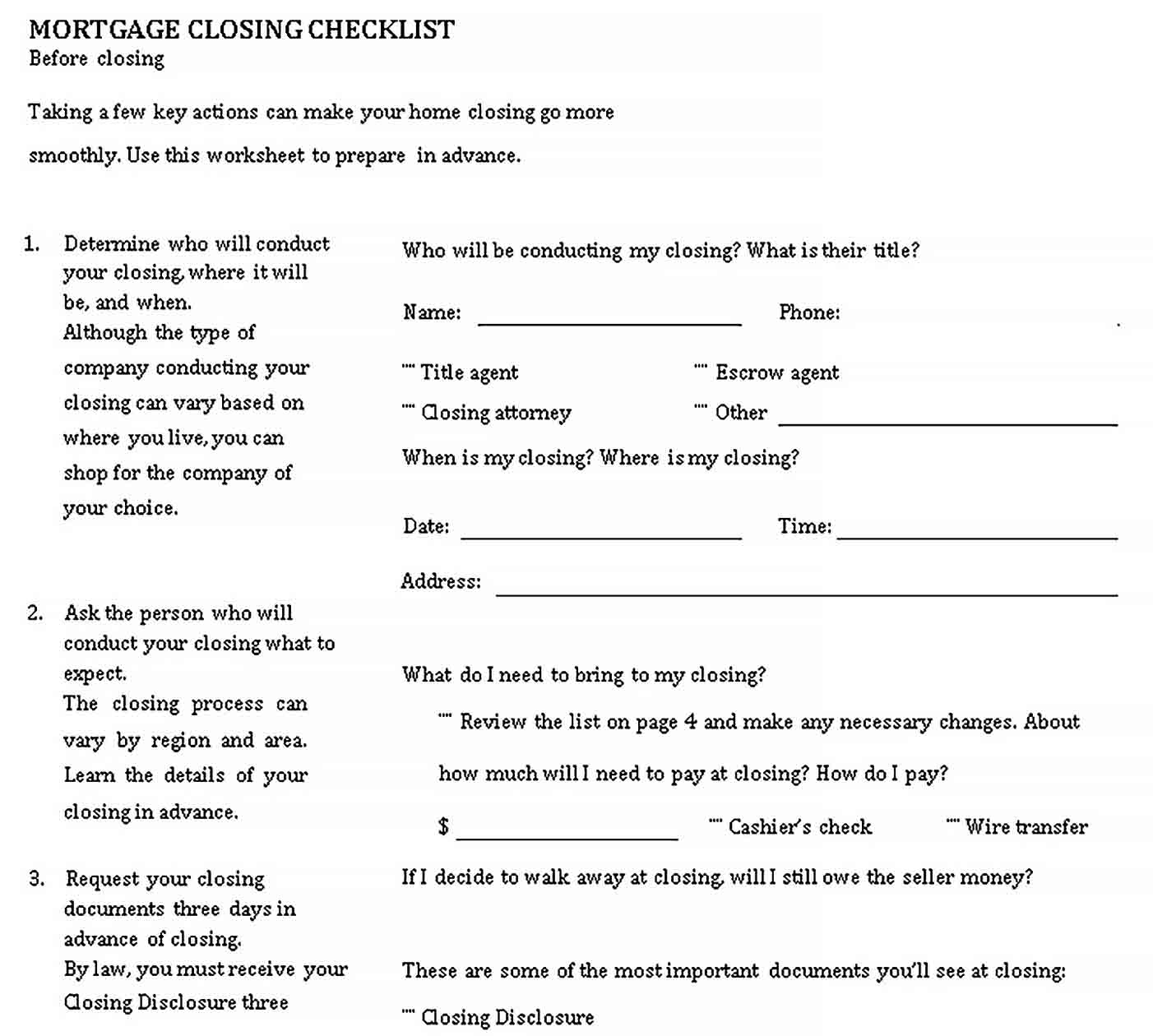 Template Simple Mortgage Closing Checklist Template