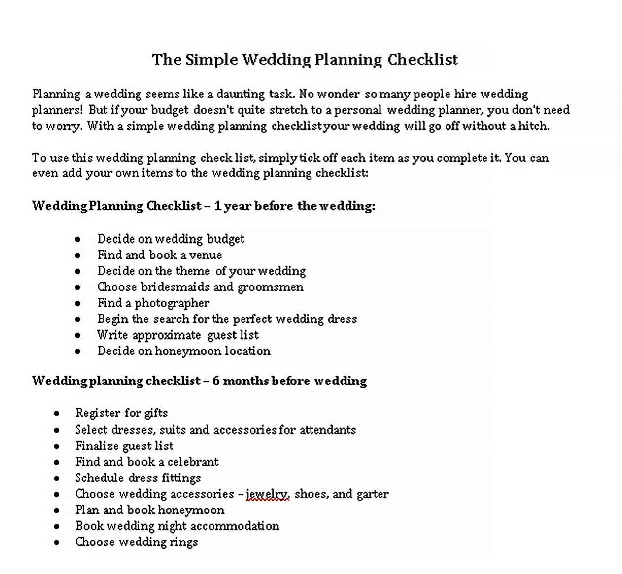 Template Simple Wedding Planning Checklist 1