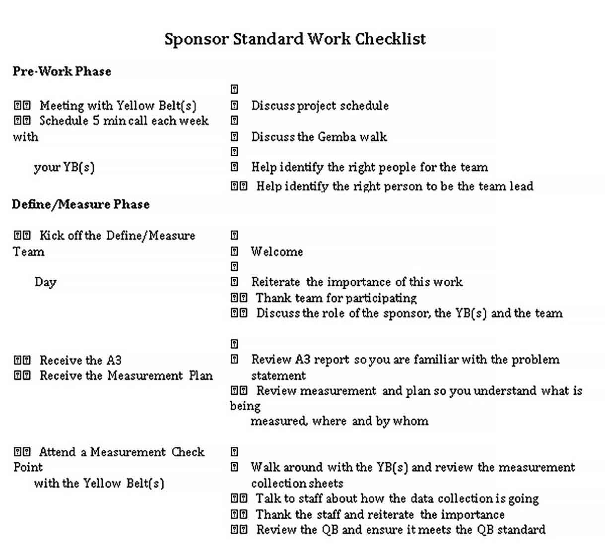 Template Standard Work Checklist