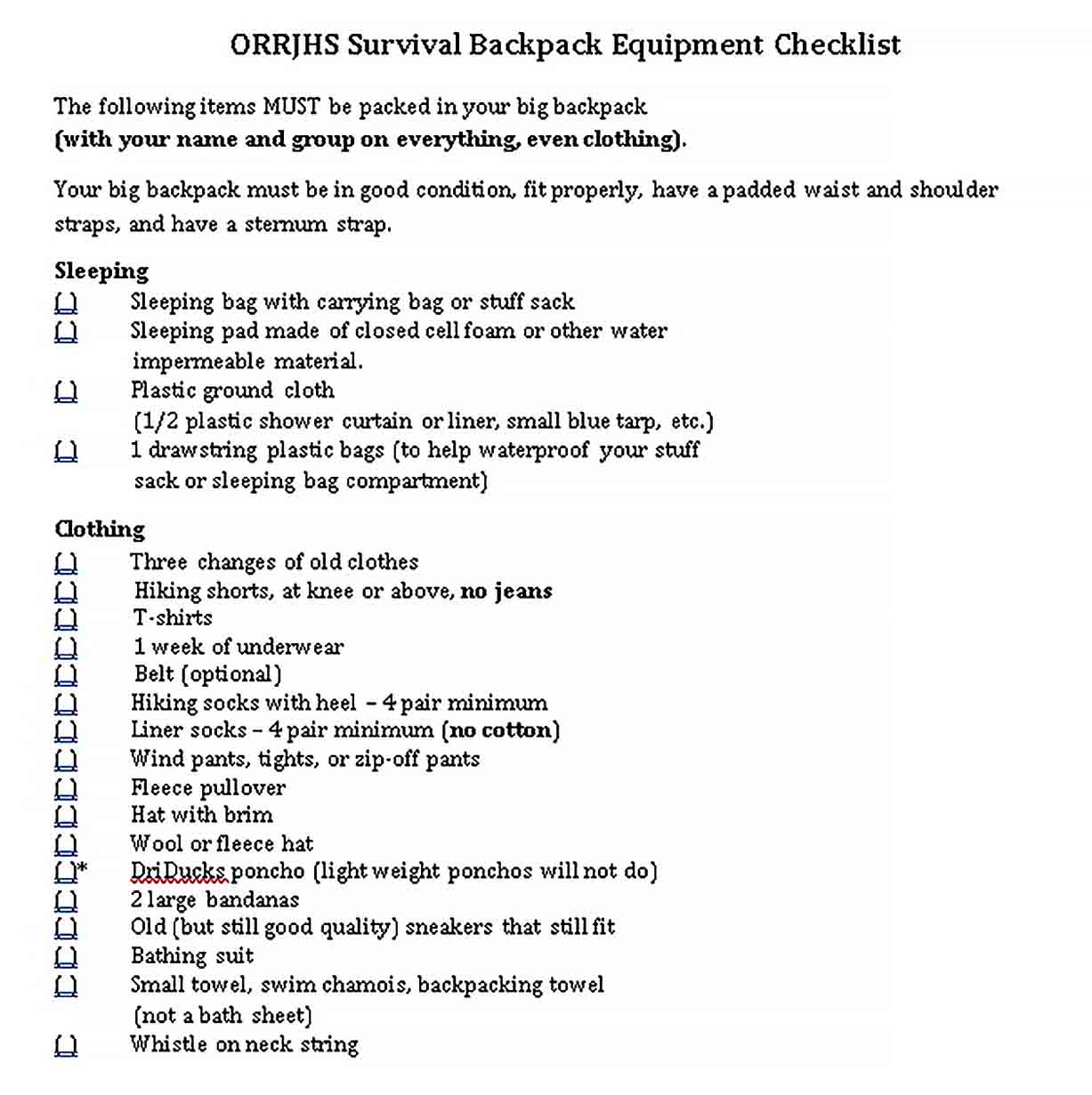 Template Survival Backpack Equipment Checklist