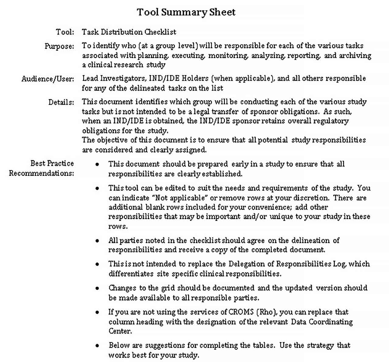 Template Task Distribution Checklist DOC Format Template