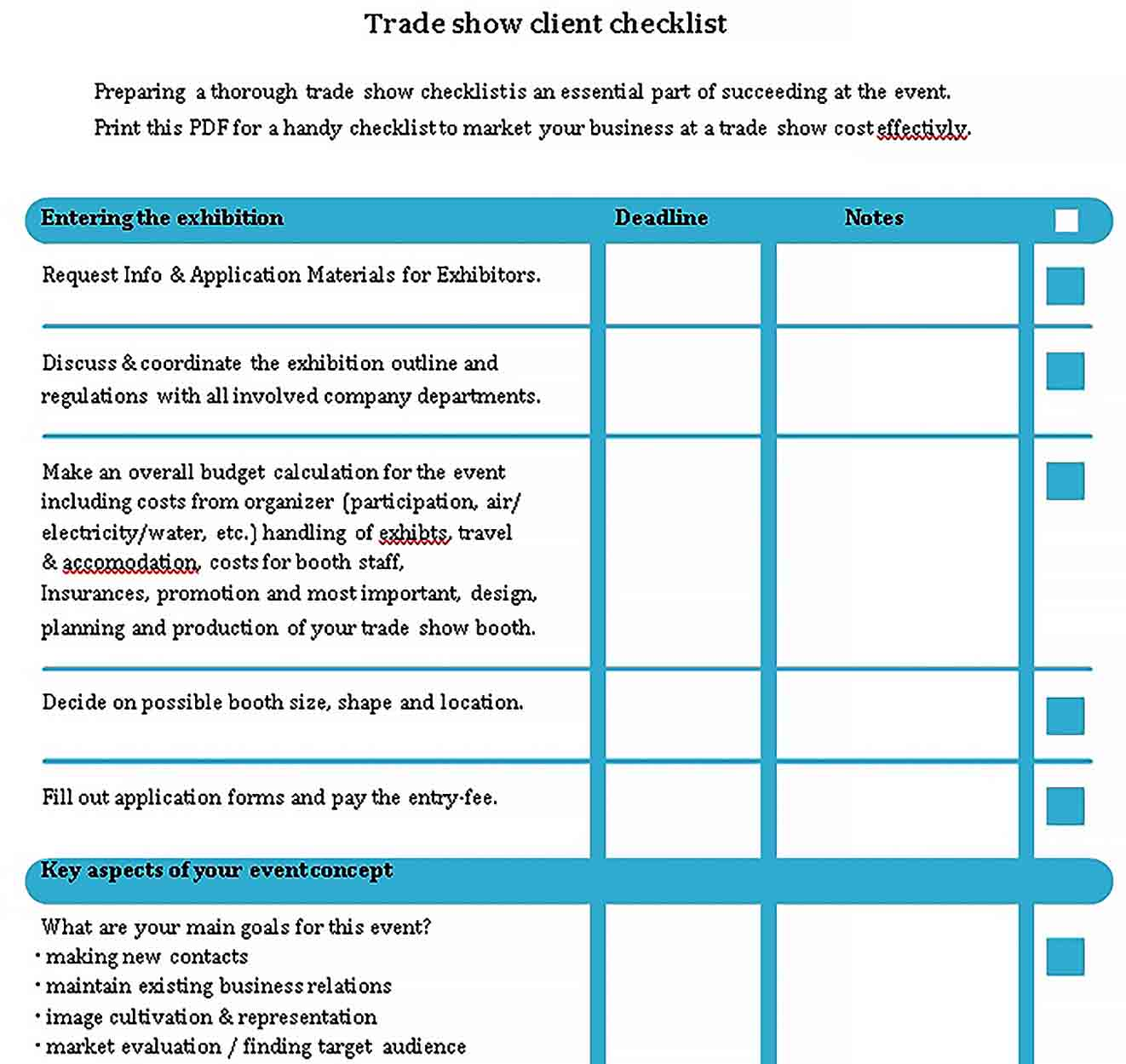 Template Trade show client checklist