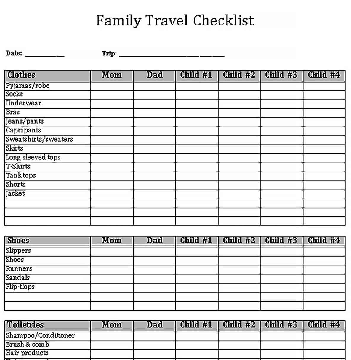 Template Travel Checklist for Family