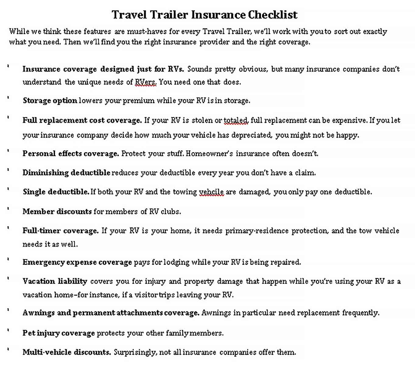 Template Travel Trailer Checklist