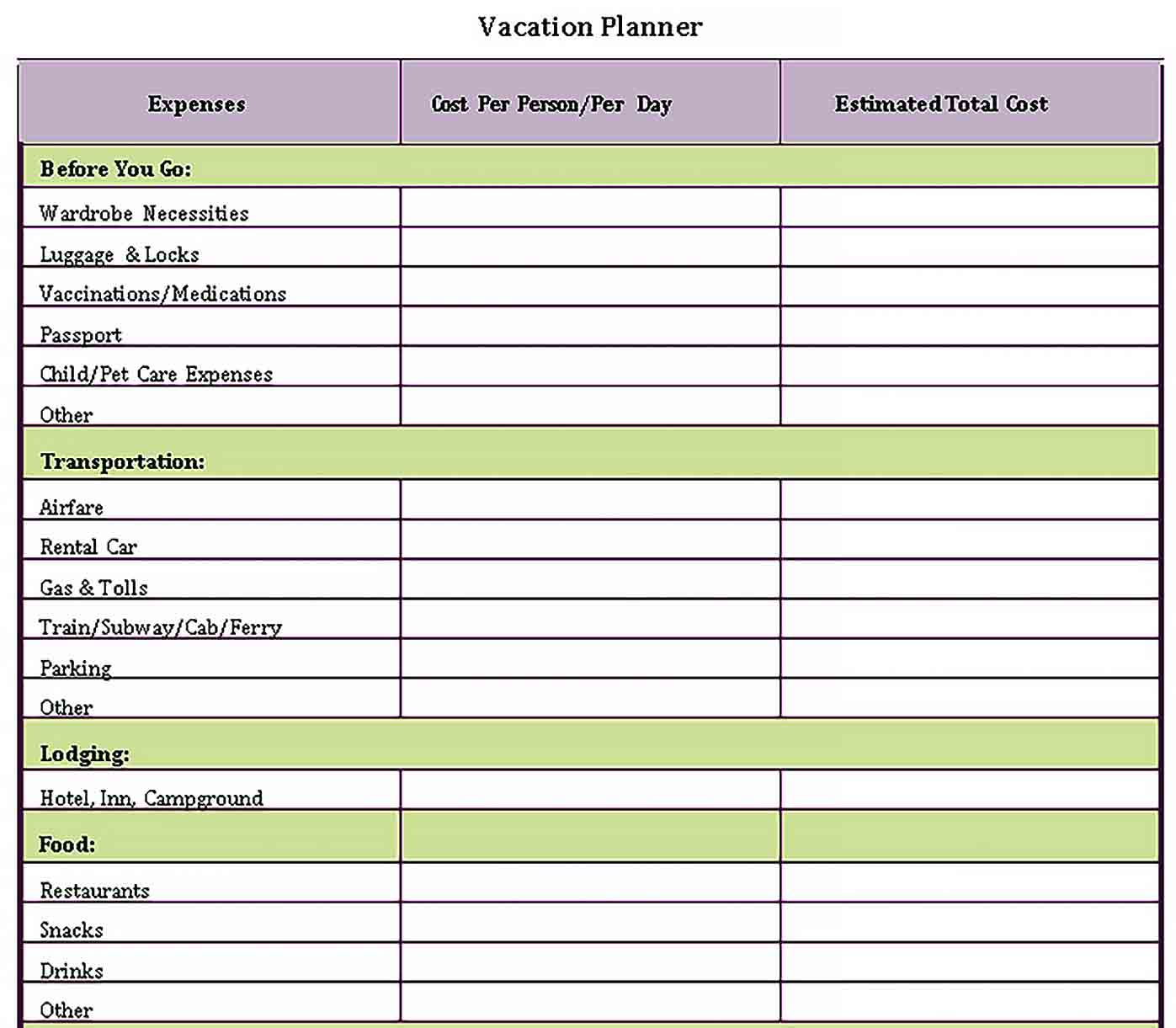 Template Vacation Planning Checklist