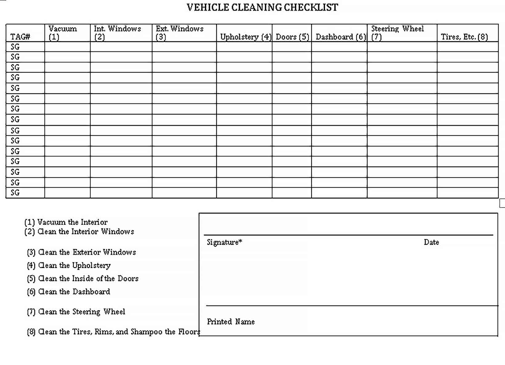 Template Vehicle Cleaning Checklist Template
