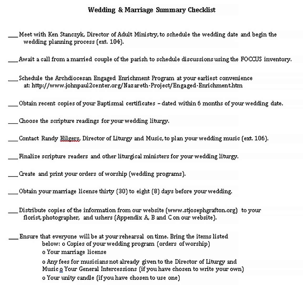 Template Wedding Summary Checklist 1