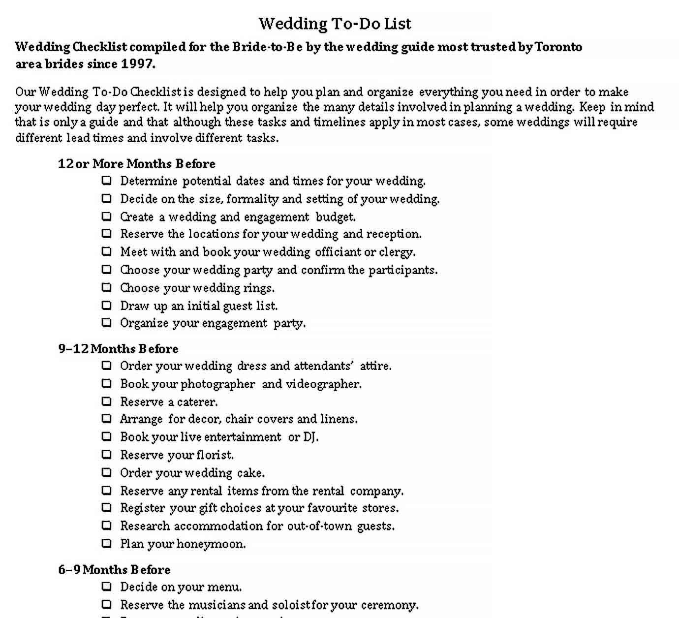 Template Wedding To Do Checklist Template