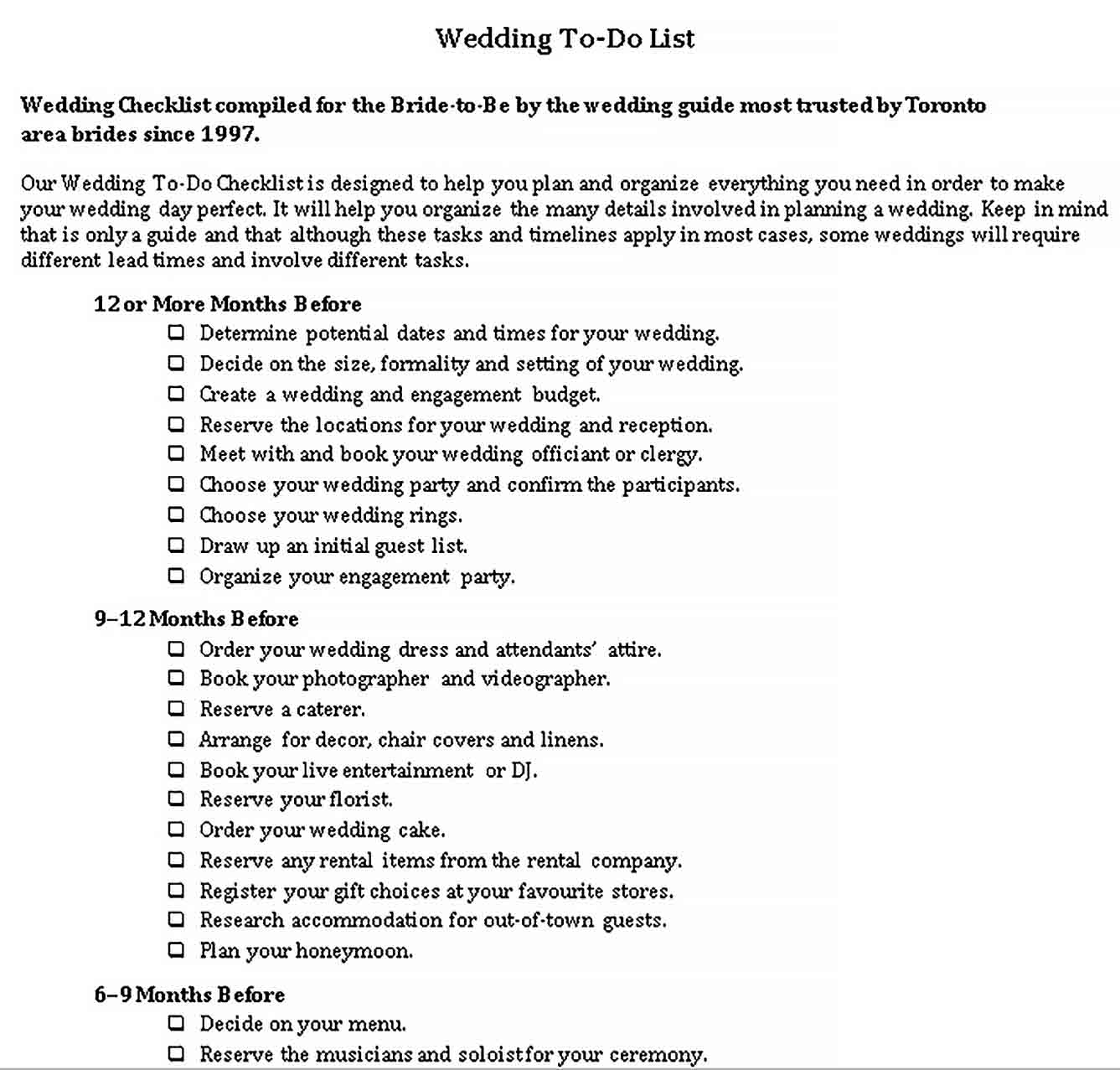 Template Wedding To Do List 1