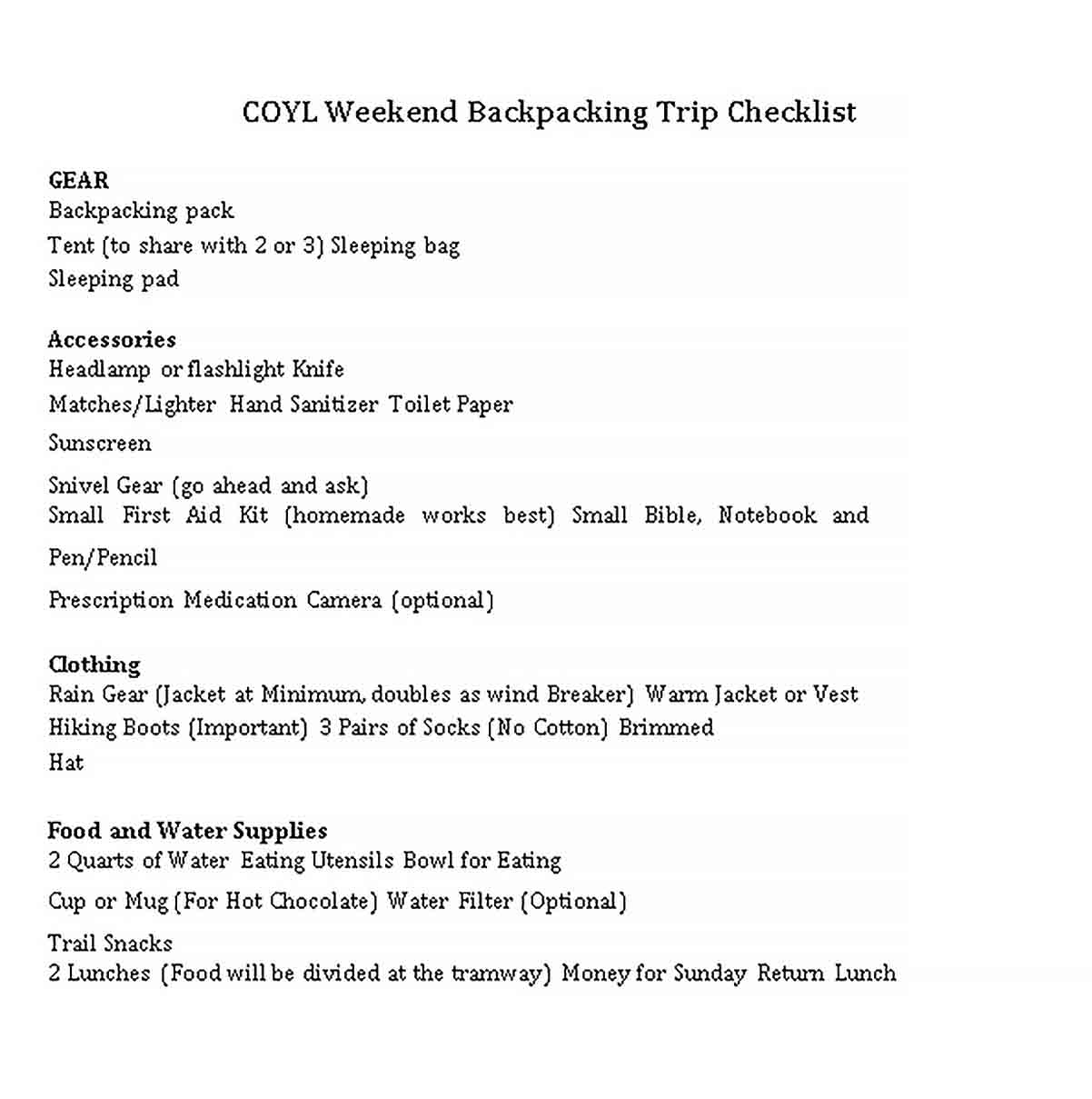 Template Weekend Backpacking Checklist