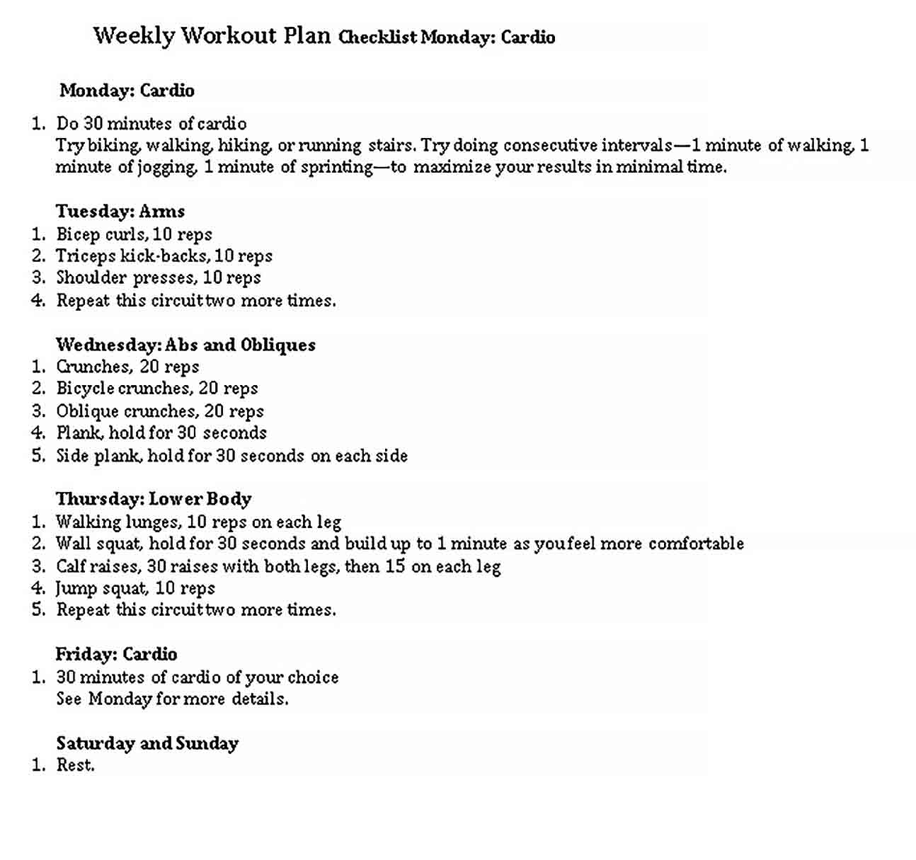 Template Weekly Workout Checklist Template