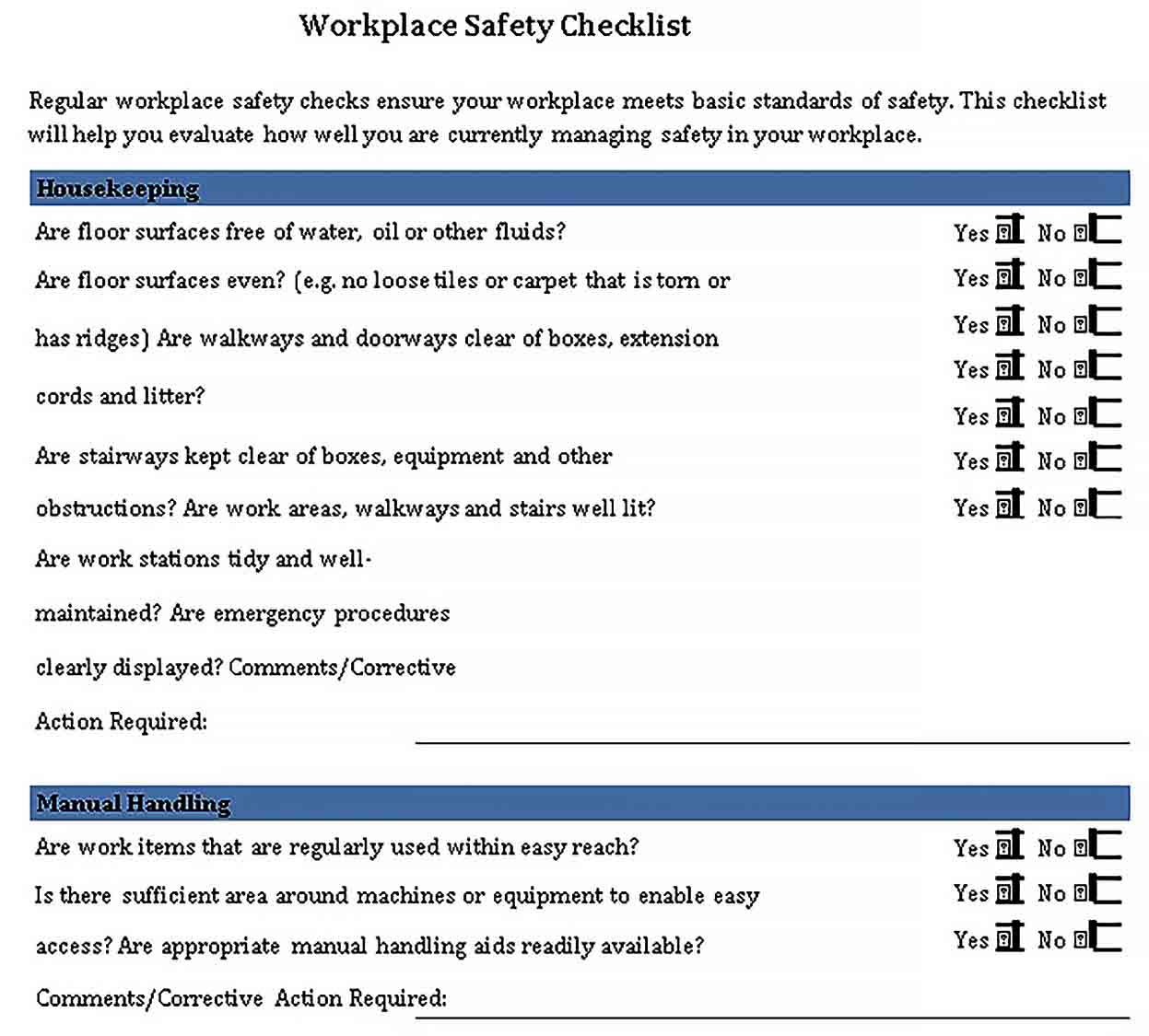 Template Workplace Safety