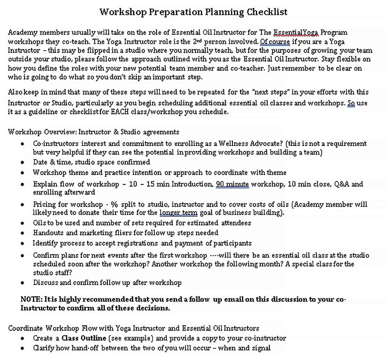 Template Workshop Preparation Planning Checklist