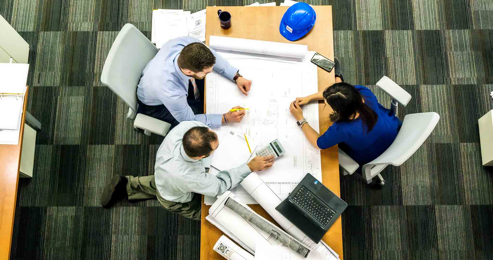 adult architect blueprint team stock photography