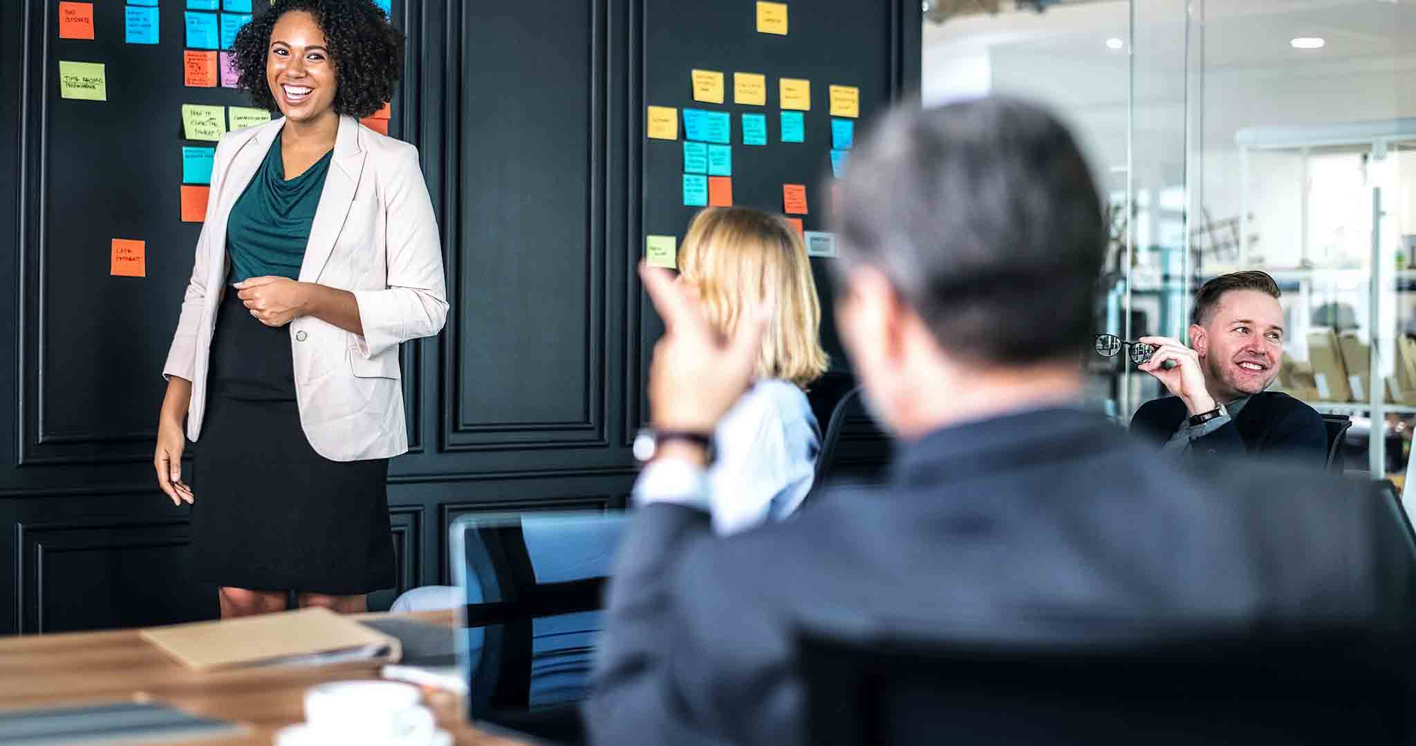 adult brainstorming briefing presentation stock photography