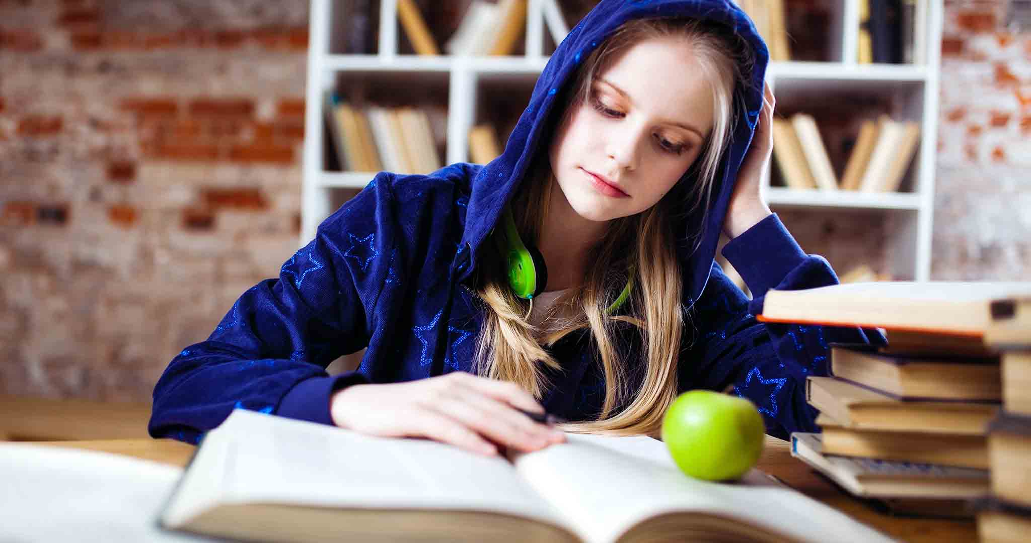 apple beautiful blond hair student college stock photography