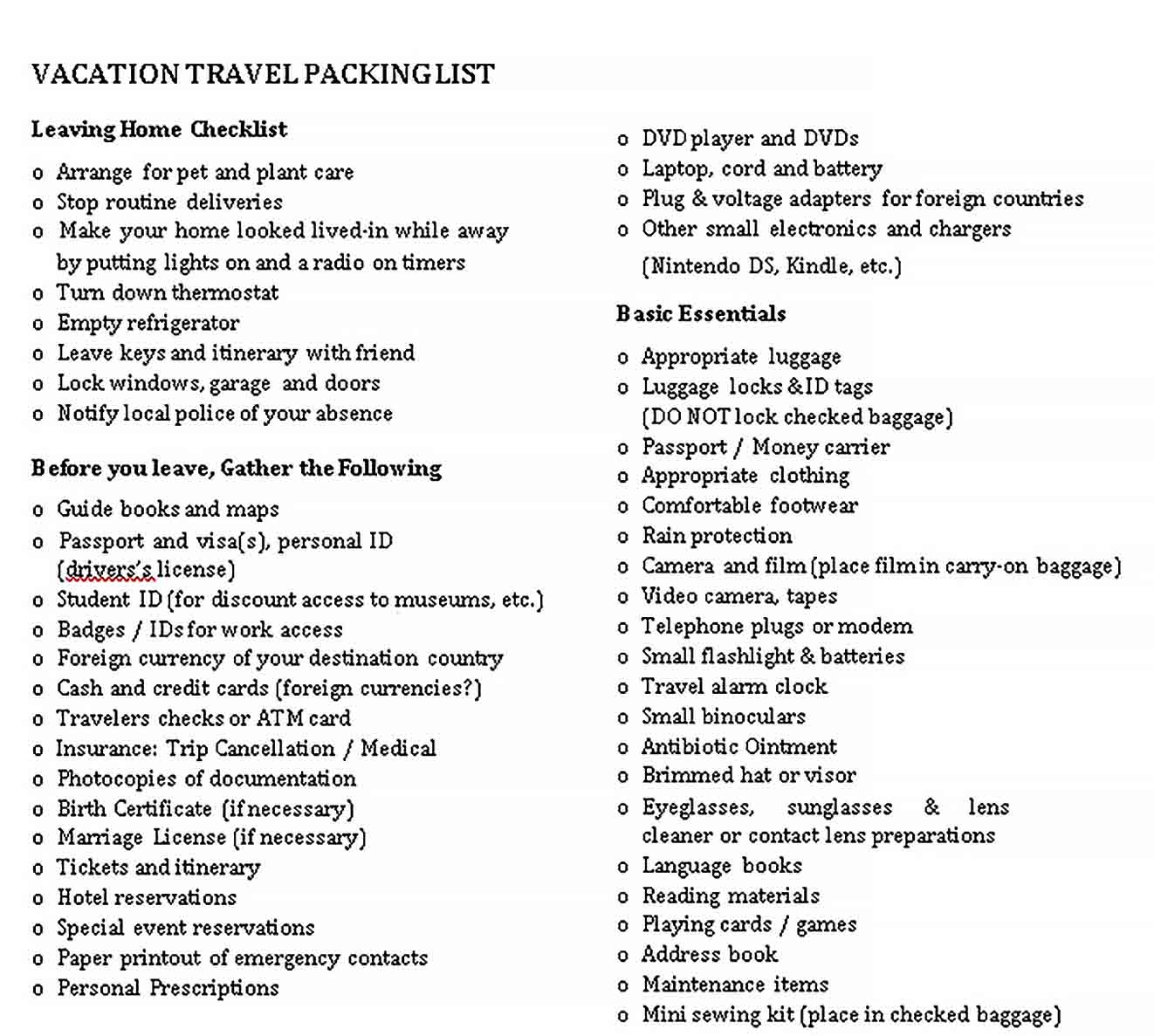 travel packing list 1