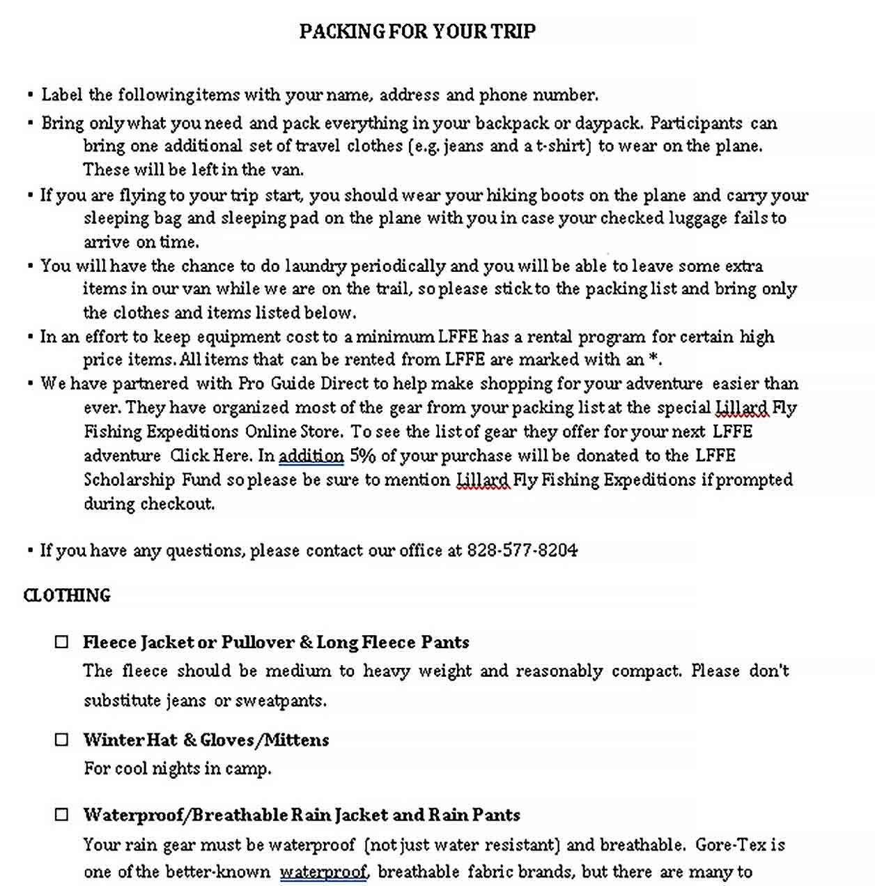 travel packing list 2