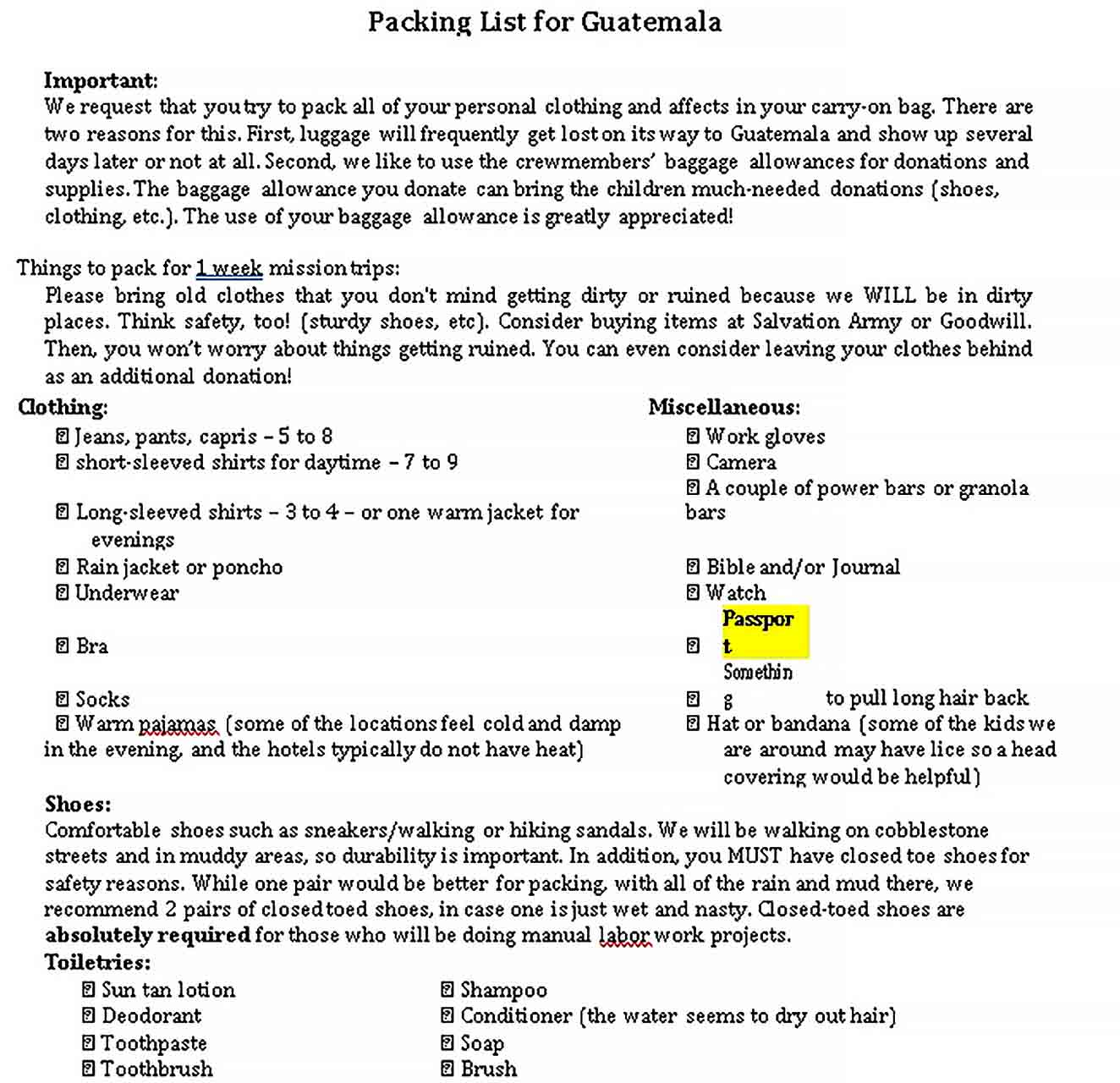 travel packing list 7