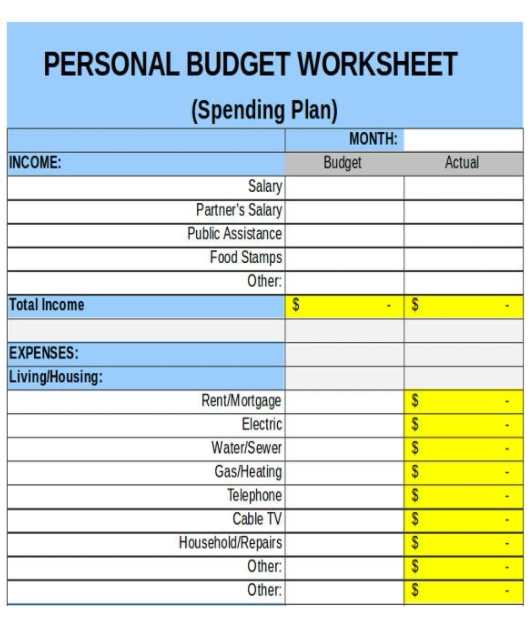 Free personal Budget Form