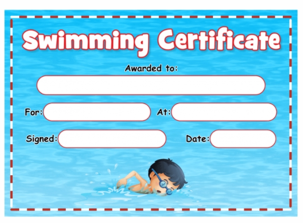 3 Sample Swimming Certificate