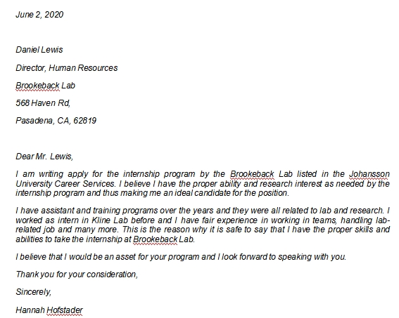 Internship Letter of Interest Explanations and Example