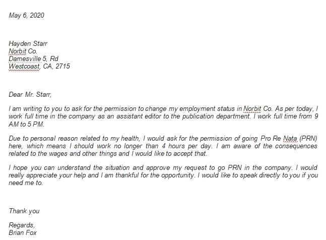 Resignation Letter from Full Time to PRN Example and Requirements