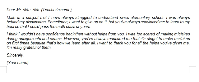 Writing Tips and Sample of Teacher Appreciation Letter from Student