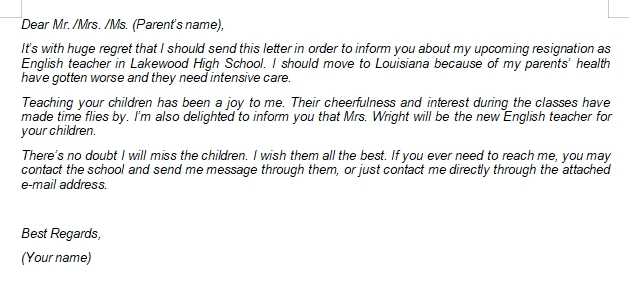 How to Write Teacher Resignation Letter to Parents