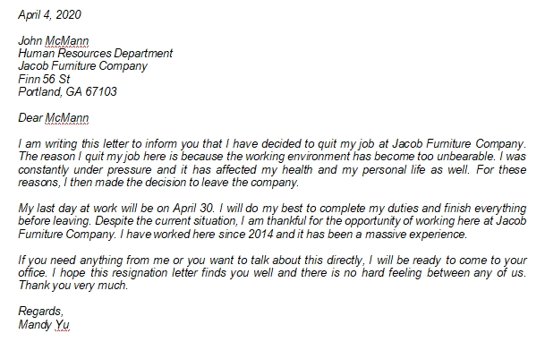 Resignation Letter Due to Hostile Work Environment Examples and Other Information