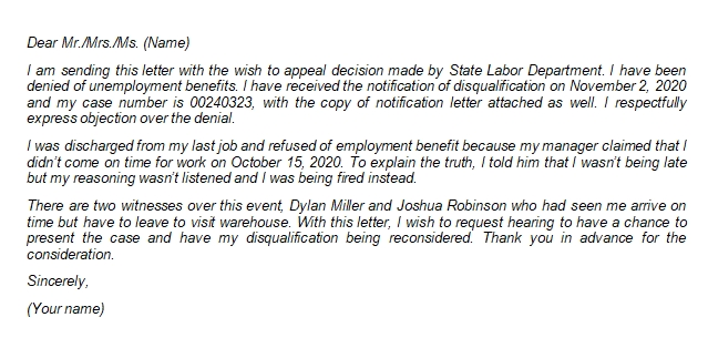 Guide and Sample of Appeal Letter for Unemployment Disqualification