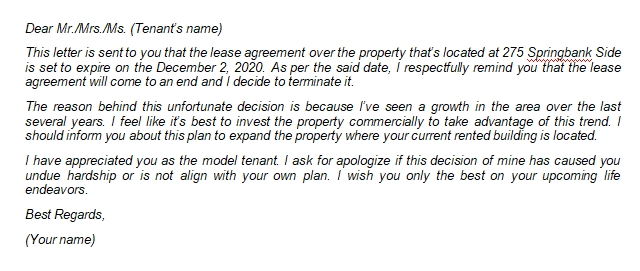Notice of Lease Termination Letter from Landlord to Tenant Writing Tips and Sample
