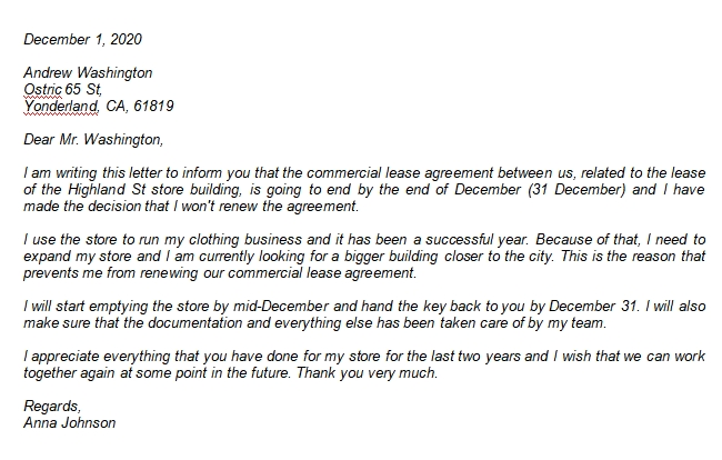 Example and Explanation about Commercial Lease Termination Letter to Landlord