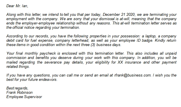 Writing the Proper At-Will Termination Letter