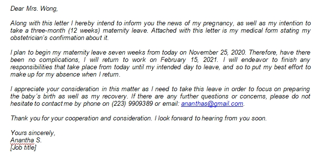 How to Write a Maternity Leave Letter