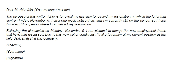 Guide to Rescind Resignation Letter and Its Sample