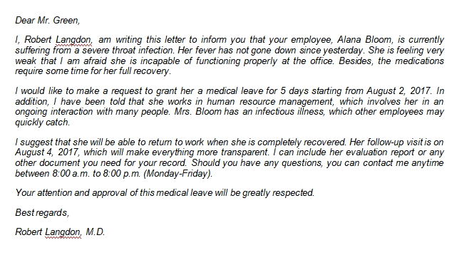 Writing a Medical Leave Letter from Doctor with Example