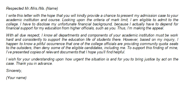 Admission Appeal Letter Guide and Example
