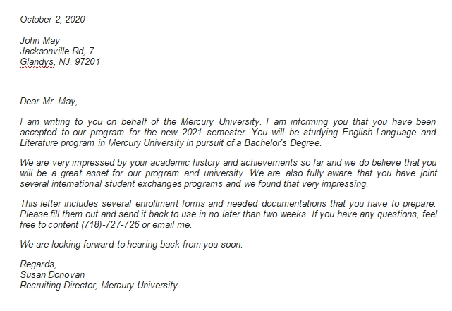 College Acceptance Letter Example and How to Respond It