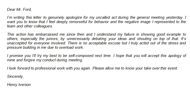 Writing a Proper Apology Letter to Boss for Misconduct