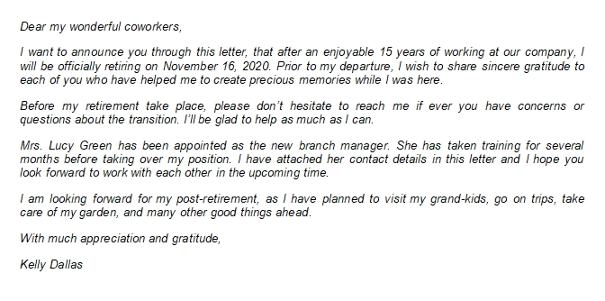 101 Retirement Letter to Coworkers