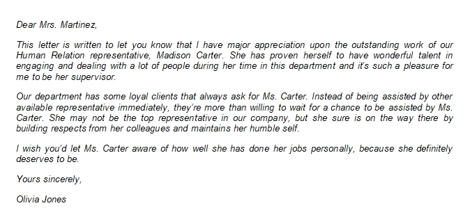 102 Letter of Appreciation to Boss about Employee