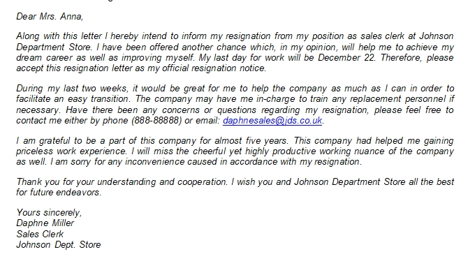 Important Things on Retail Resignation Letter