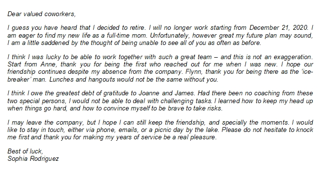 105 Retirement to Coworkers Letter